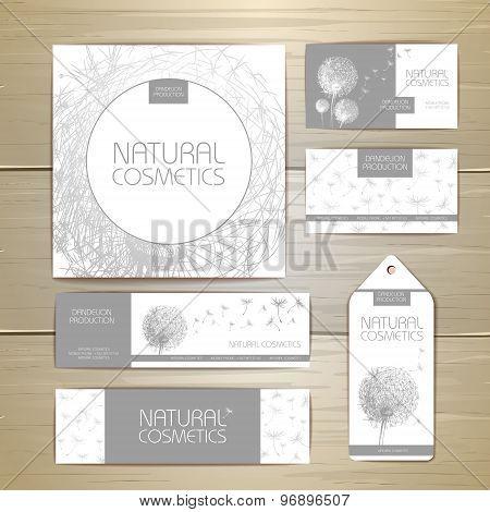 Flower Dandelion Cosmetics Concept Design. Corporate Identity. Document Template