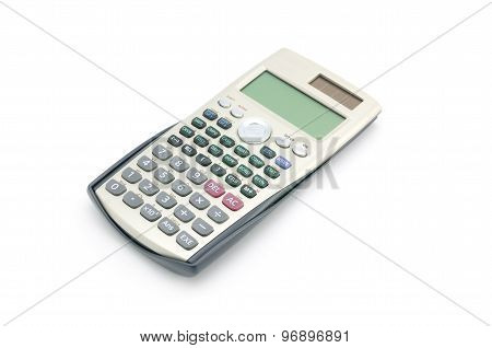 Scientific Calculator With Solar Power Isolated On White