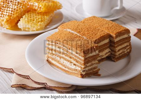 Beautiful Close-up Of Honey Cake And Honeycomb. Horizontal