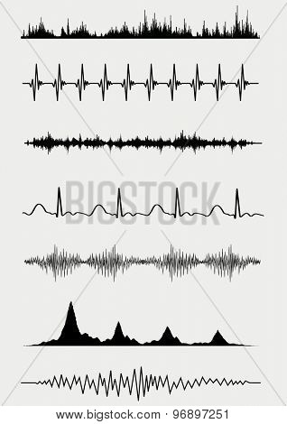 Sound waves set. Vector illustration