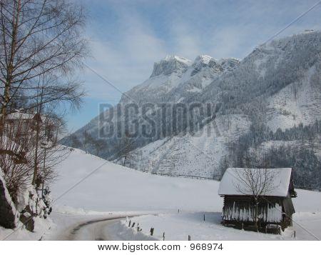 Pastoral Winter Swiss Scene