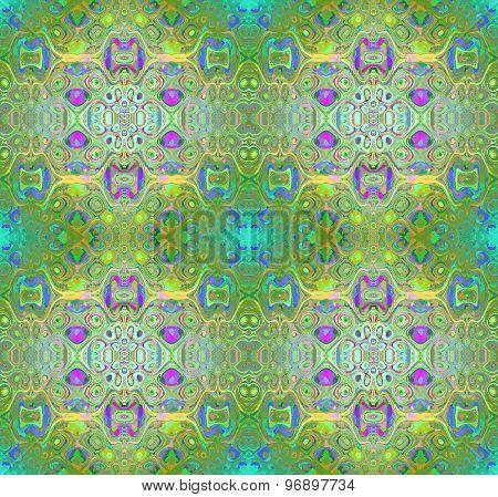 Seamless pattern green multicolored