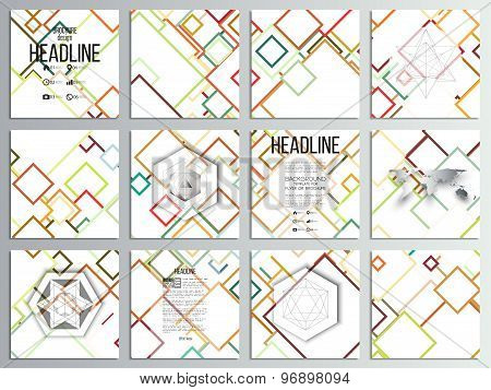 Set of 12 creative cards, square brochure template design. Abstract colorful background, vector illu