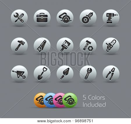 Tools Icons // Pearly Series ----- The Vector file includes 5 color versions for each icon in different layers -----