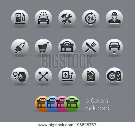 Gas Station Icons // Pearly Series ----- The Vector file includes 5 color versions for each icon in different layers -----
