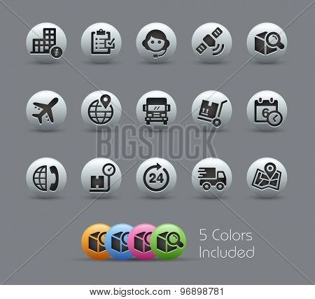 Shipping and Tracking Icons // Pearly Series ----- The Vector file includes 5 color versions for each icon in different layers -----