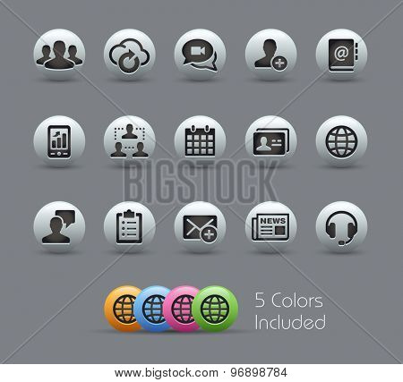 Business Technology Icons // Pearly Series ----- The Vector file includes 5 color versions for each icon in different layers -----