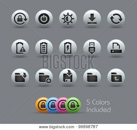 Energy and Storage Icons // Pearly Series ----- The Vector file includes 5 color versions for each icon in different layers -----