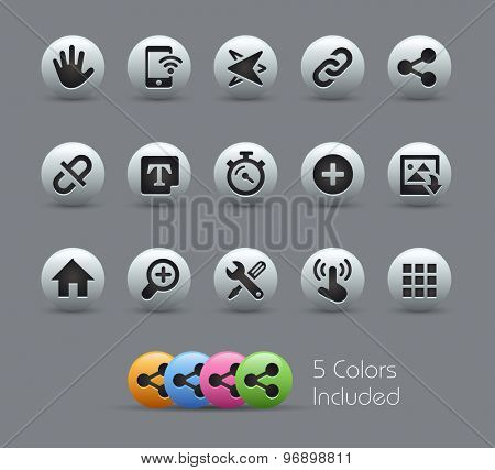 System Icons Interface // Pearly Series ----- The Vector file includes 5 color versions for each icon in different layers -----