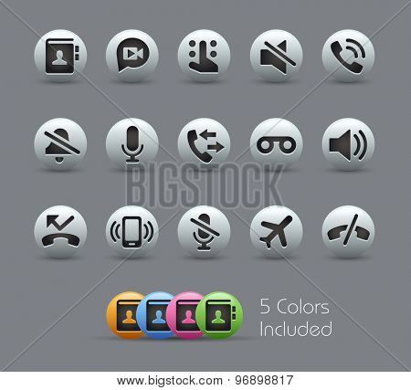 Phone Calls Interface Icons // Pearly Series ----- The Vector file includes 5 color versions for each icon in different layers -----