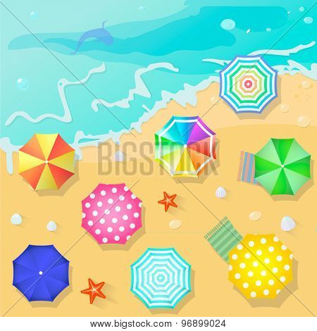 Summer beach in flat design style. Shell and towel, starfish ,summertime, relaxation summer tourism,