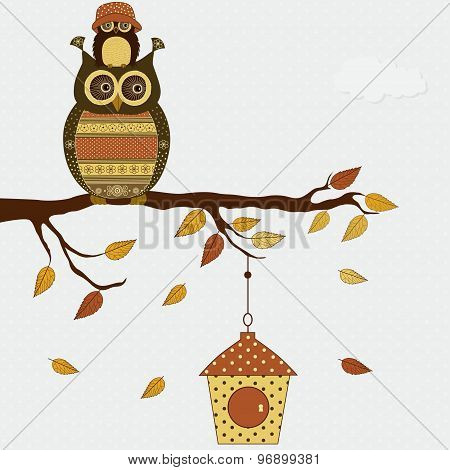 Cute Stylized Owls On Branch With Birdhouse