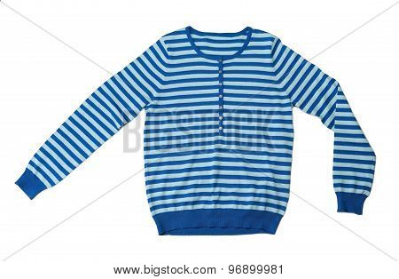 Blue Striped Wool Sweater In The Studio