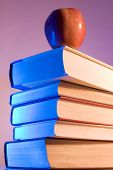 pic of midterm  - apple placed on a stack of books - JPG
