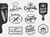 Постер, плакат: Set of bakery and bread logo labels design for sweets shop bakery shop