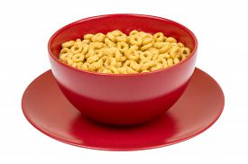 image of whole-grain  - Bowl with whole grain cheerios cereal isolated - JPG