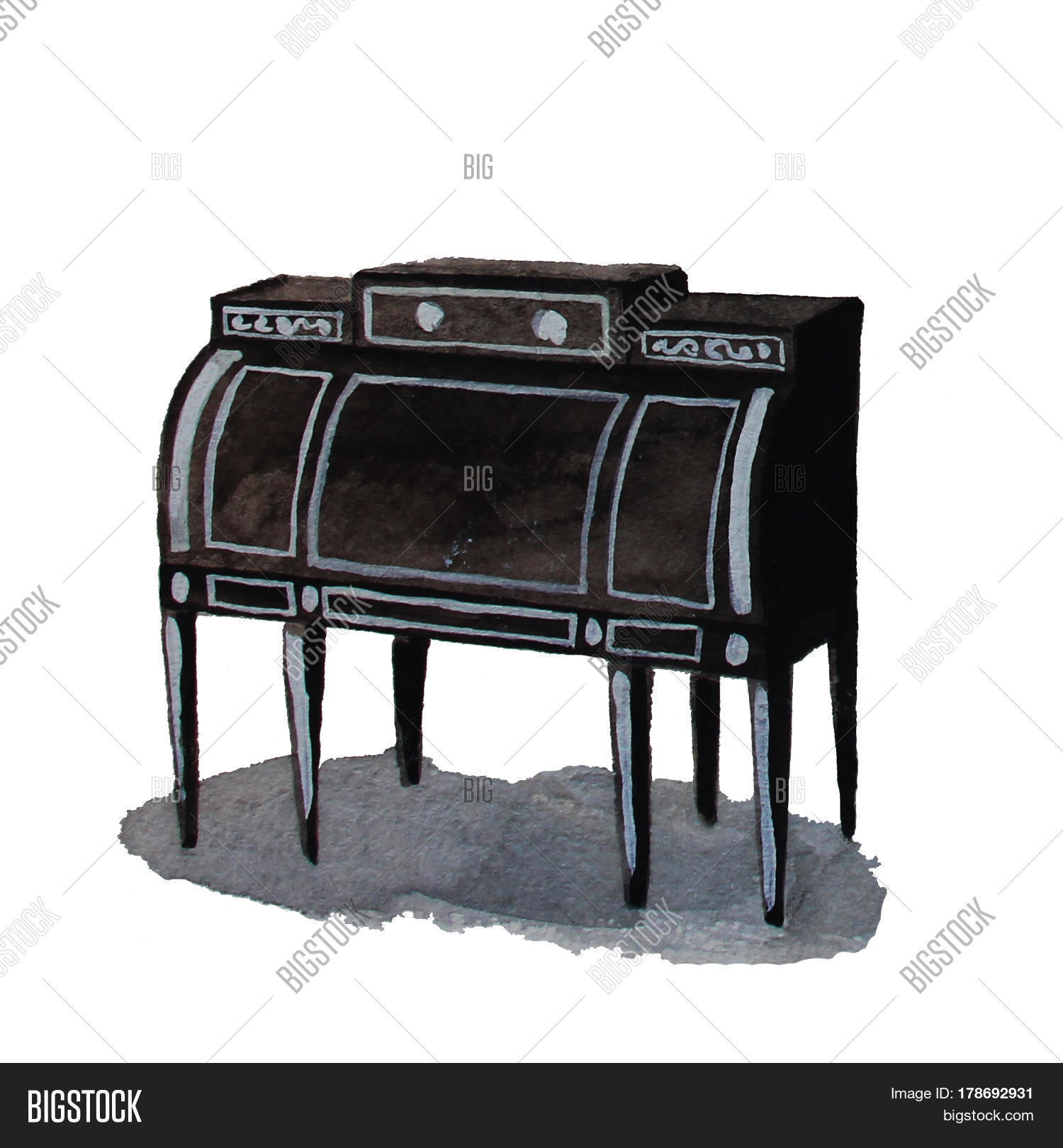 vintage commode bureau hand drawn image photo bigstock. Black Bedroom Furniture Sets. Home Design Ideas