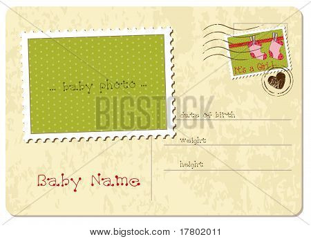 Baby Girl Arrival Postcard
