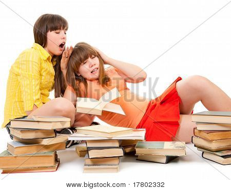 Two Schoolgirls Were Tired Of Reading Books
