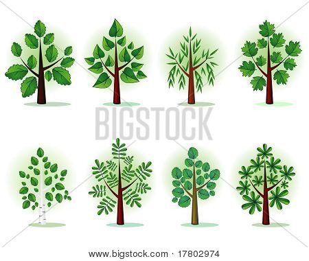 Stylized forest trees