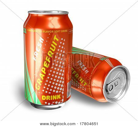 Grapefruit soda drinks in metal cans