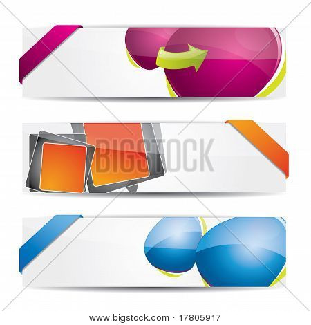 Glossy banner set with speech bubbles