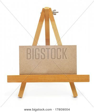 blank paper label in an easel on a white background