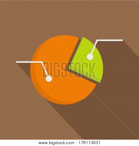 Colorful pie graphic chart icon. Flat illustration of colorful pie graphic chart vector icon for web isolated on coffee background