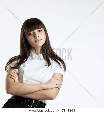 Young serious woman seriously look at you