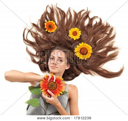 Young Beautiful Brunette Woman With Scattered Long Hairs And Sun