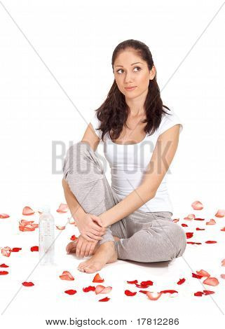 Young Beautiful Lady With Bottle Of Gas Water