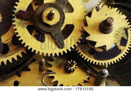 Closeup of old metal clock mechanism