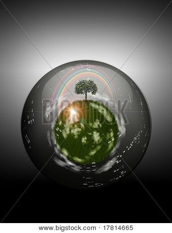 Grassy Sphere Inside Glass Sphere
