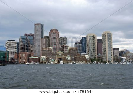 Boston Skyline From Harbor