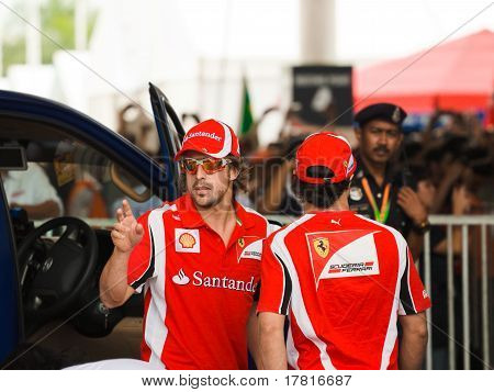 Formula 1, Gp Malaysia, Sepang, April 10 2011. Fernando Alonso And Felipe Massa, Team Scuderia Ferra
