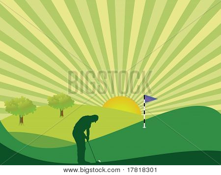 Golfer In Countryside