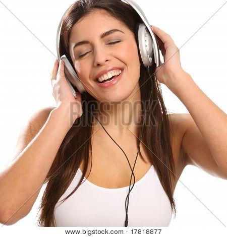 Girl music lover singing