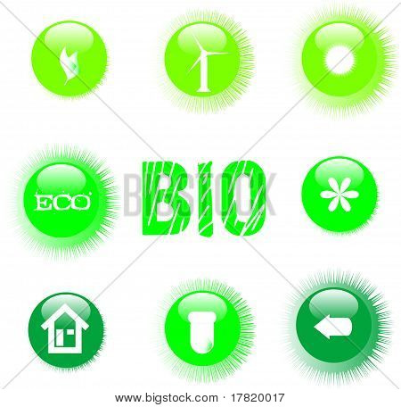 eco icon set green button