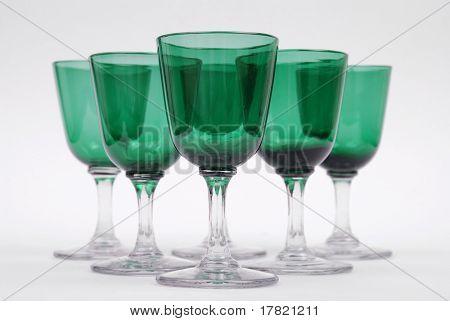 A set of Victorian bristol green wine glasses