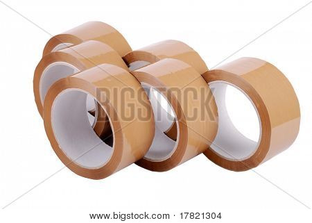 Reels of brown packaging tape on white background