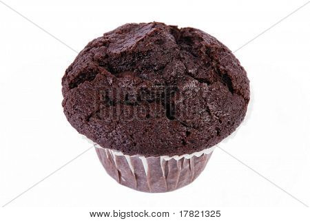 Delicious Chocolate chip muffin in its paper case on white background