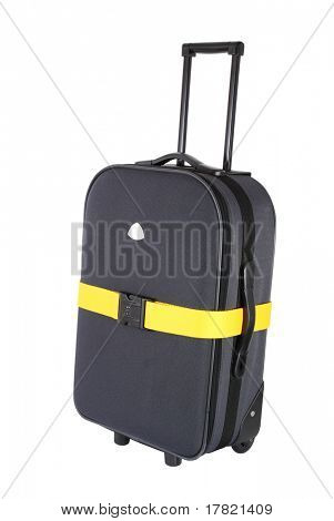 Suitcase with luggage strap