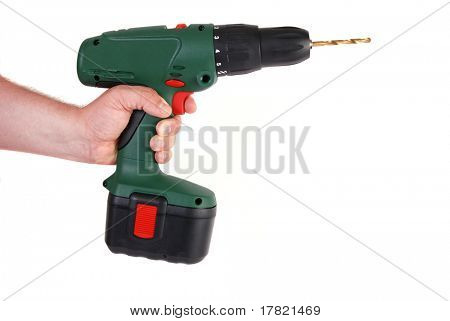 Man's hand holding cordless power drill - isolated on white
