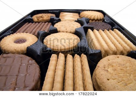 Wide angle close up tray of biscuits