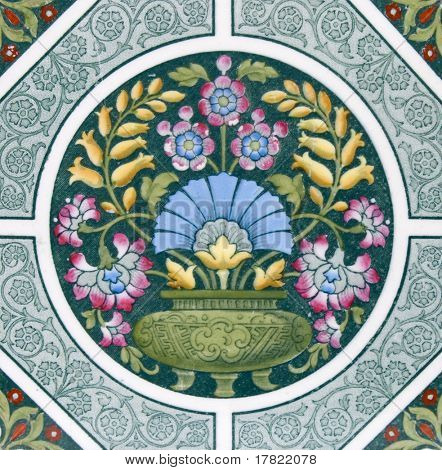 eine Kunst & Handwerk Zeitraum original Kachel Datierung um 1880 mit bunte design