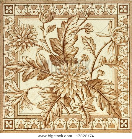 Victorian period decorative arts printed panel tile with dandelions