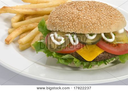 Garnished burger with fries on a white plate