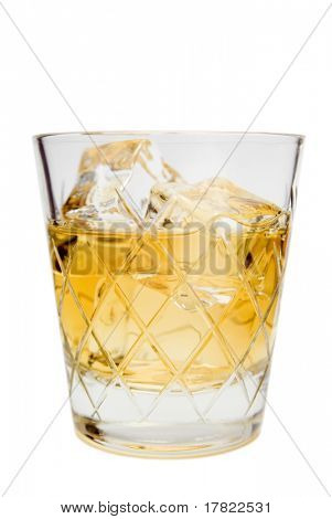 Classic whisky over ice in a traditional cut glass tumbler