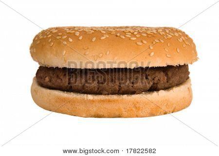 einfache, plain Viertel Pfünder Burger in einer SESAM-Samen-Brötchen