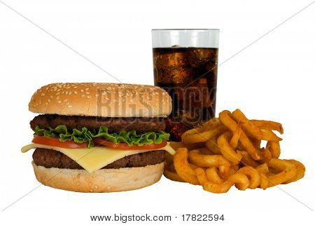 Double cheeseburger, cola and fries isolated on a white background